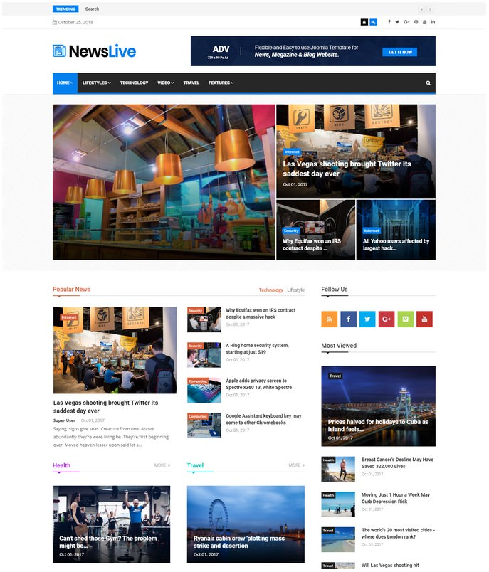 Newslive - Responsive News Media Joomla Template