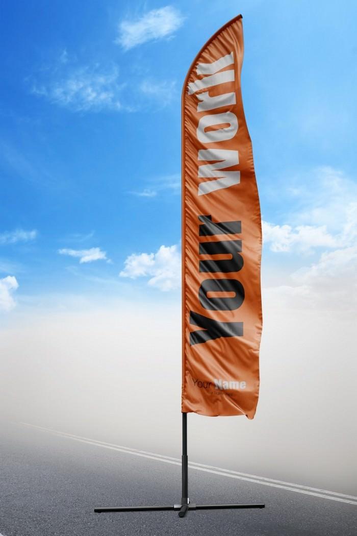 Orange Flag Mock up Free