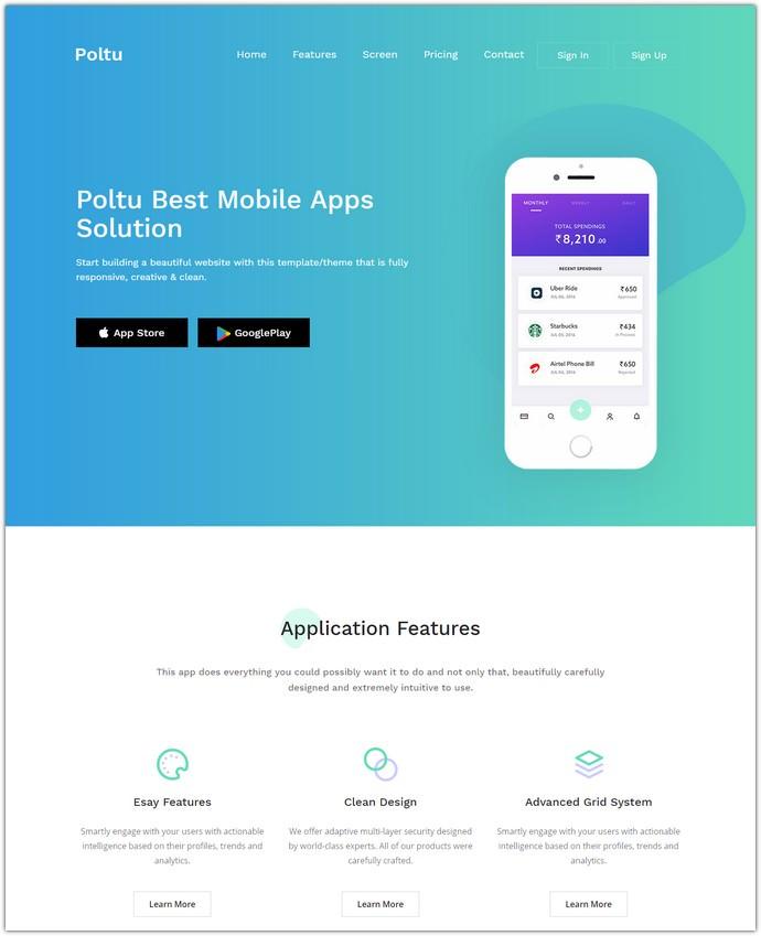 Mobile App Landing HTML Template