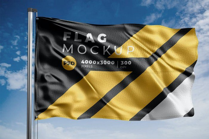 Realistic Flag Mock-Up Template