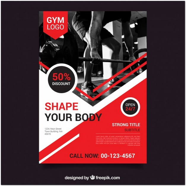 Red gym Flyer Template