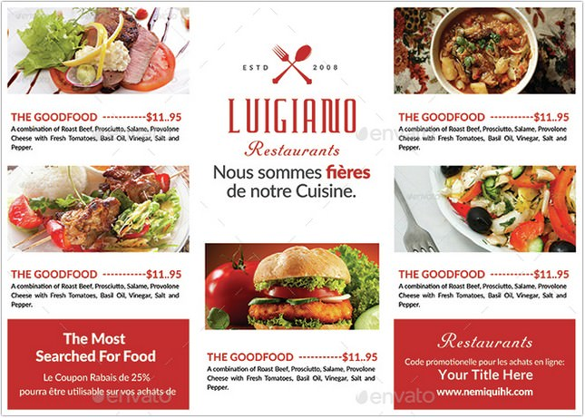 Restaurant Tri Fold Brochure template