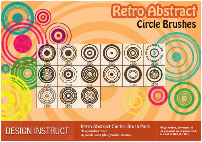 Retro Abstract Circles Photoshop Brush Pack
