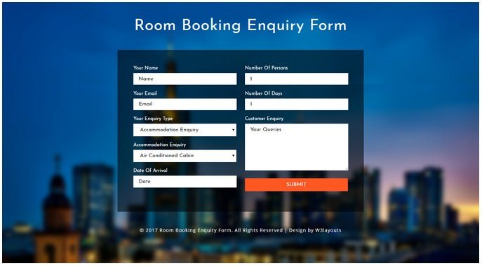 Room Booking Enquiry Form a Flat Responsive Widget Template