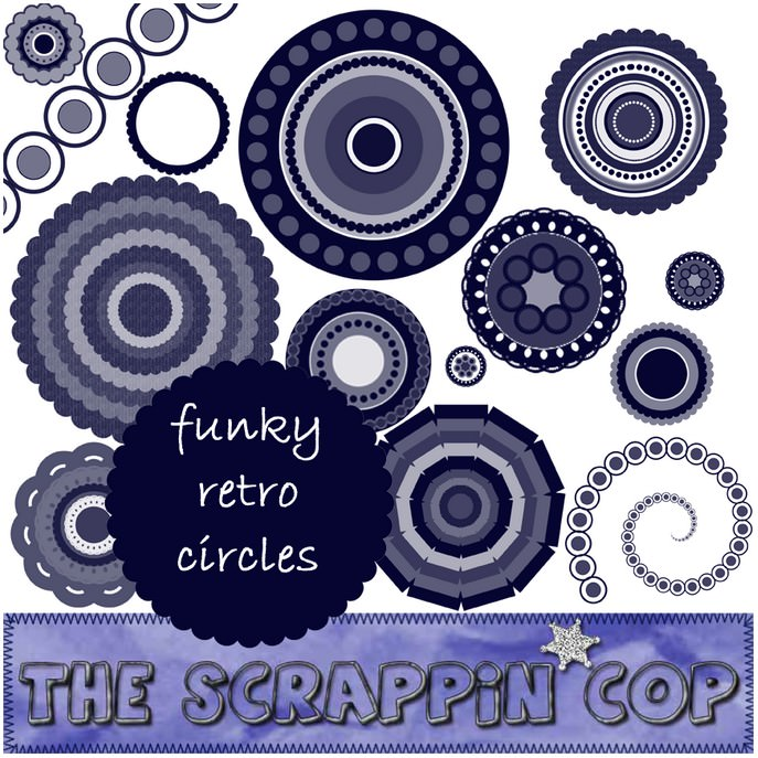 ScrappinCop Funky Retro Circle