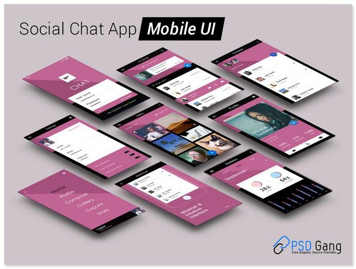 Social Chat App Mobile UI PSD