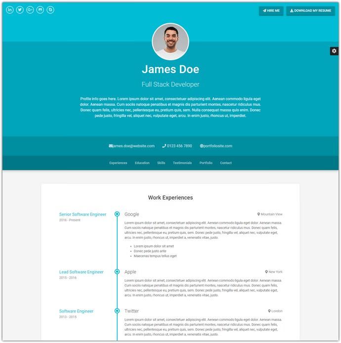 Resume/CV (Bootstrap 4)
