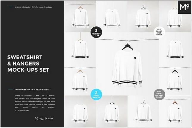 Sweatshirt & Hangers Mock-ups