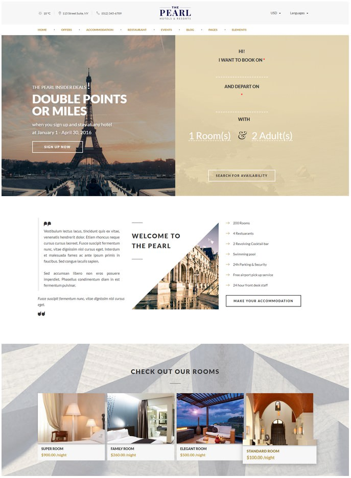 ThePearl - Hotel Booking Drupal Theme