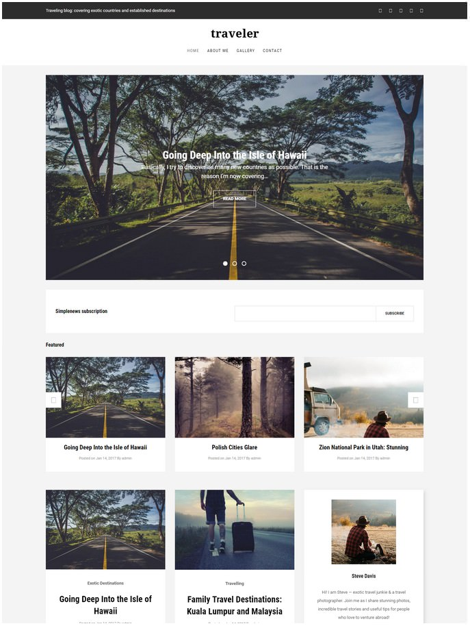 Traveler - Travel Blog Premium Drupal Template