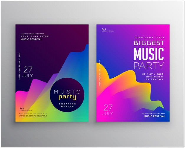Vibrant Abstract Music Party flyer