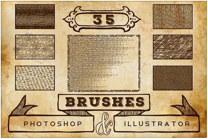 Vintage Print Texture Brushes