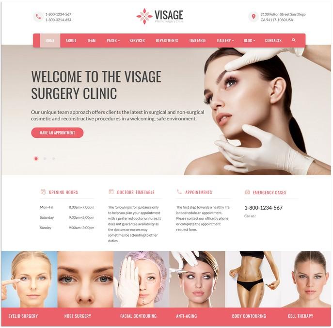 Visage - Plastic Surgery Clinic Website Template
