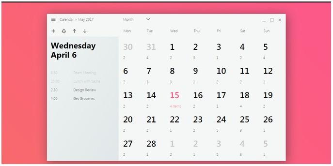 Windows Fluent Design Calendar