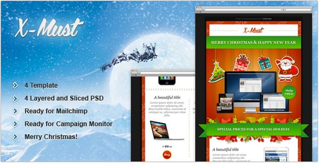 X-Must Christmas E-Mail Templates
