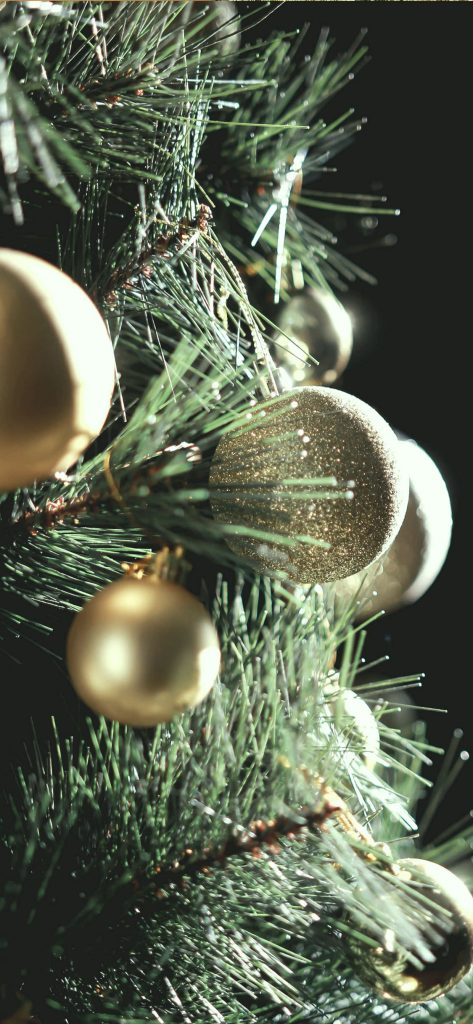 1125 × 2436 Christmas Gold Balls iPhone XS wallpapers