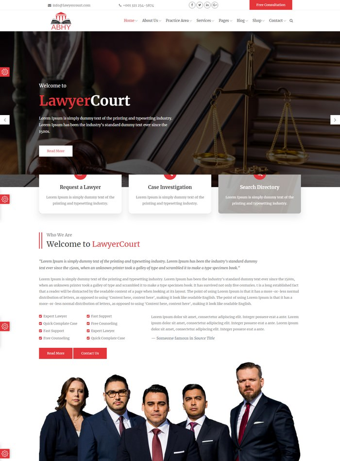 Abhy - Lawyers and Law Firms HTML Template