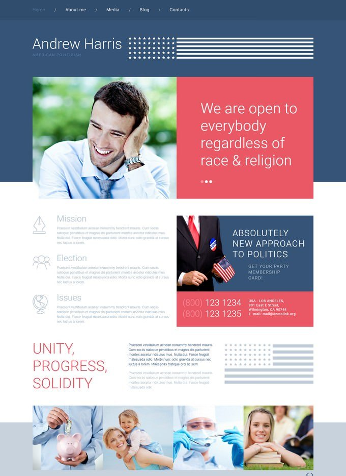 American Politician Website Theme