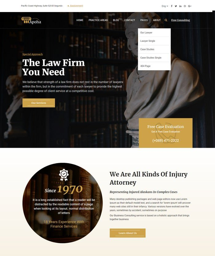 Apoha - Law and Lawyer HTML Template