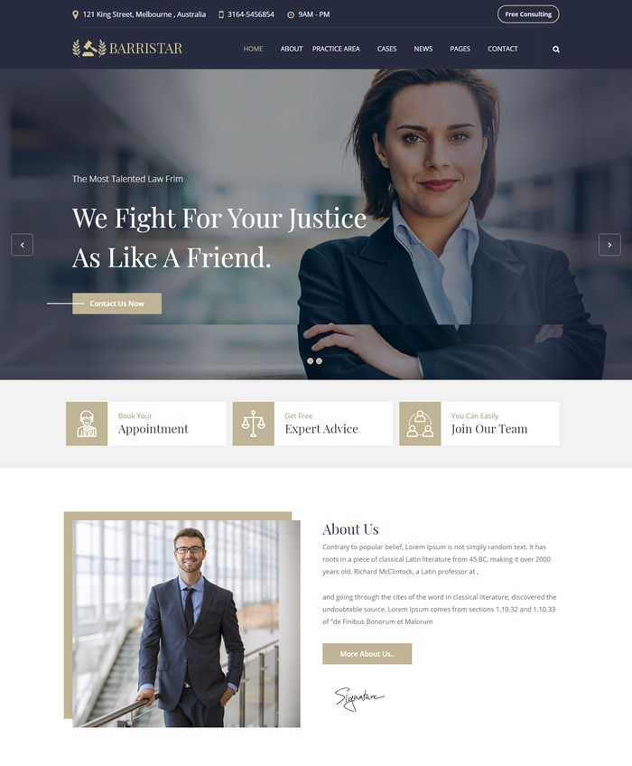 Barristar – Lawyers Attorneys and Law Firm HTML Template