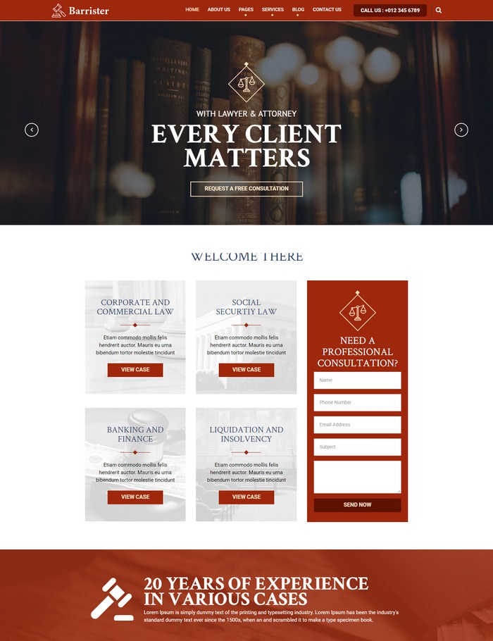 Barrister - Lawyer Attorney HTML Template