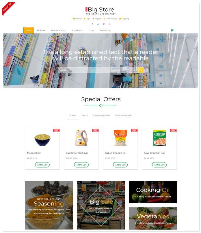 Big store - E-commerce Bootstrap Template