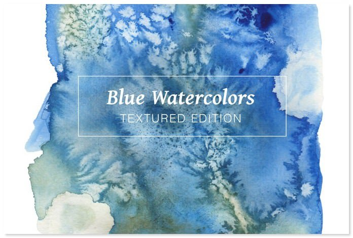 Blue Textured Watercolors