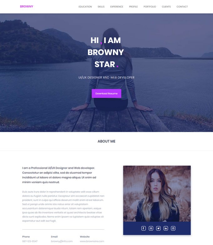 Browny - one Page HTML5 Personal Portfolio Template