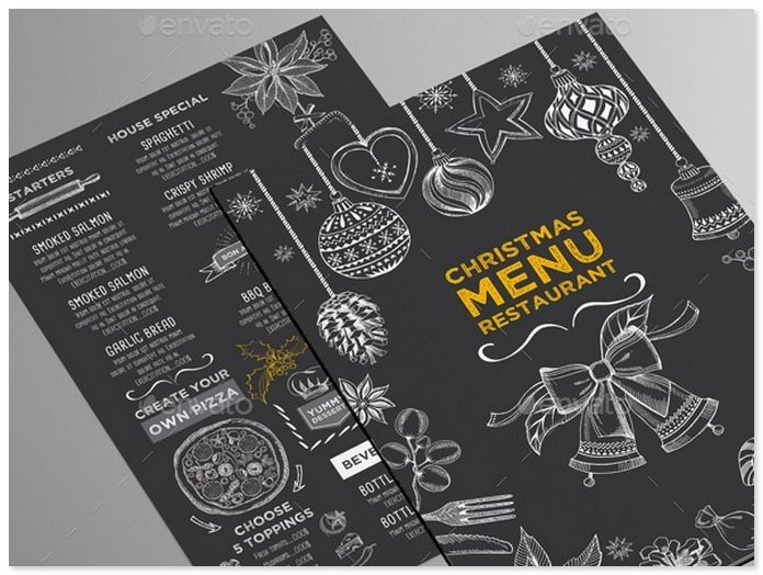 Christmas Holiday Menu Restaurant Template