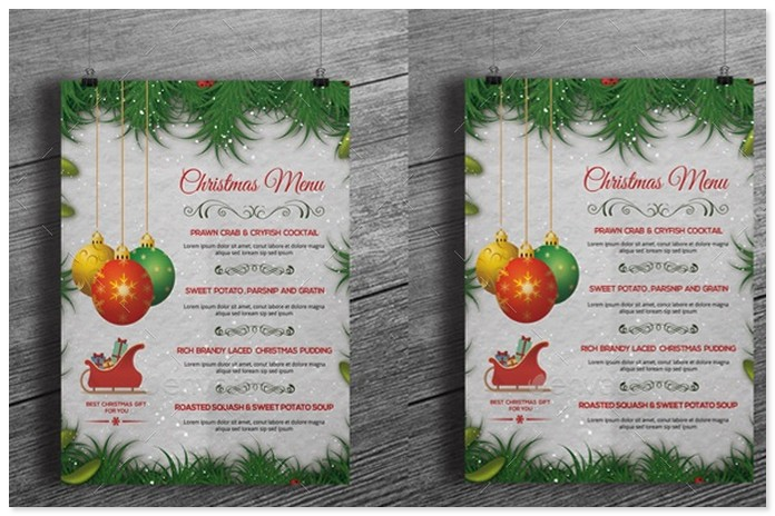 Christmas Holiday Menu Template -V01
