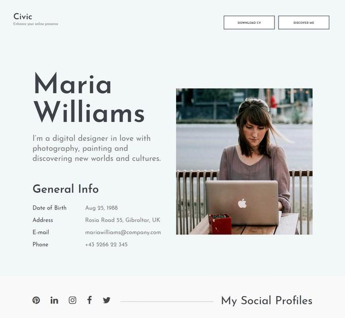 Civic - Resume Portfolio Template Free