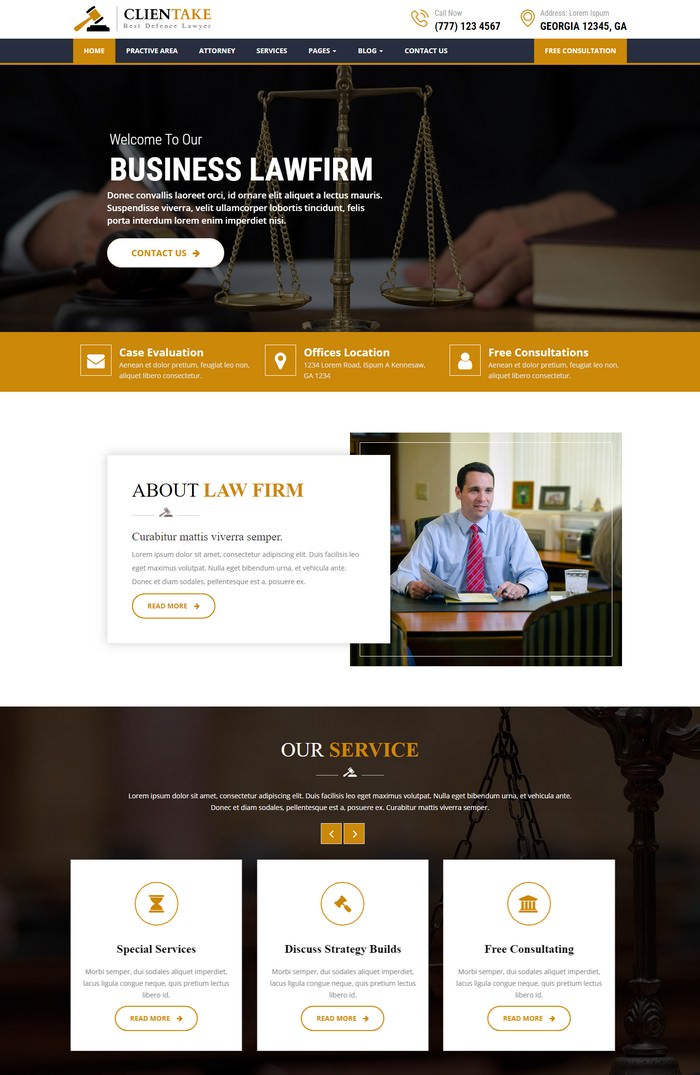 Clientake – Responsive Law Firm HTML Template