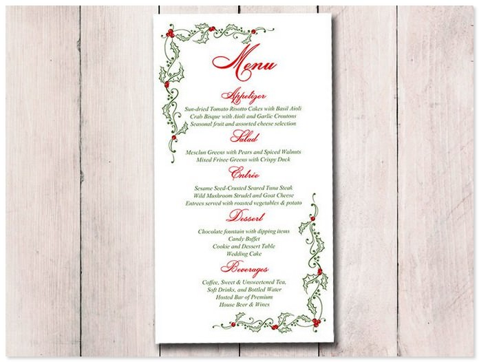 DIY Wedding Holiday Menu Template