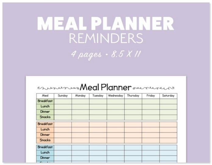 Digital Weekly Menu Planner Template