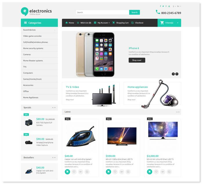 Electronic Store OpenCart Bootstrap Template