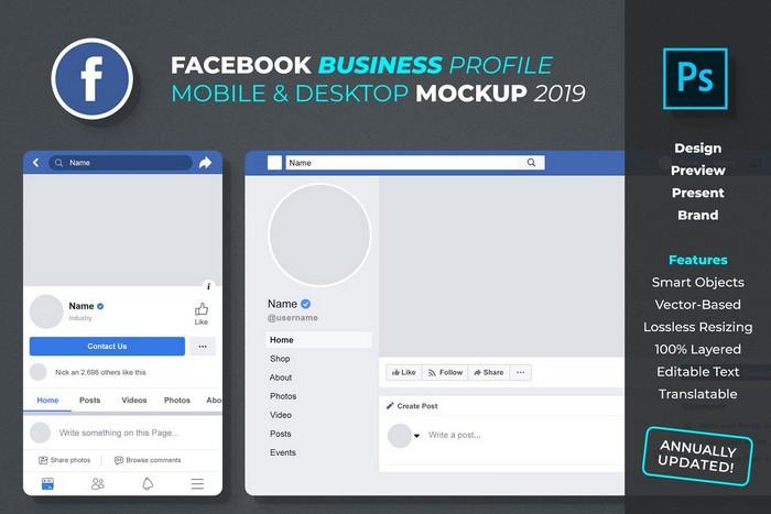 Facebook Business Profile Mockup