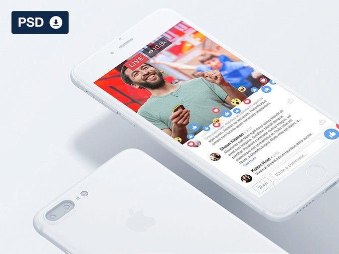 Facebook Social Media Live UI - Freebie PSD