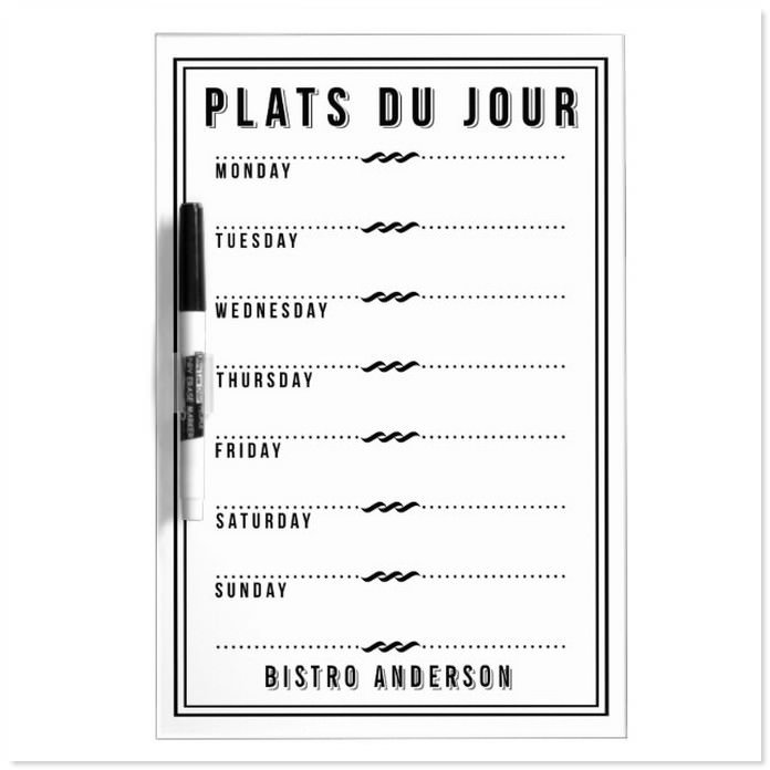 French Bistro Personalized Weekly Menu Template