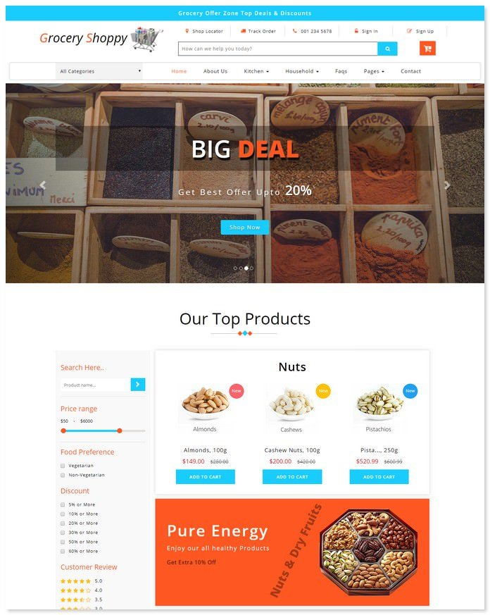 Grocery Shoppy - Ecommerce Bootstrap Template