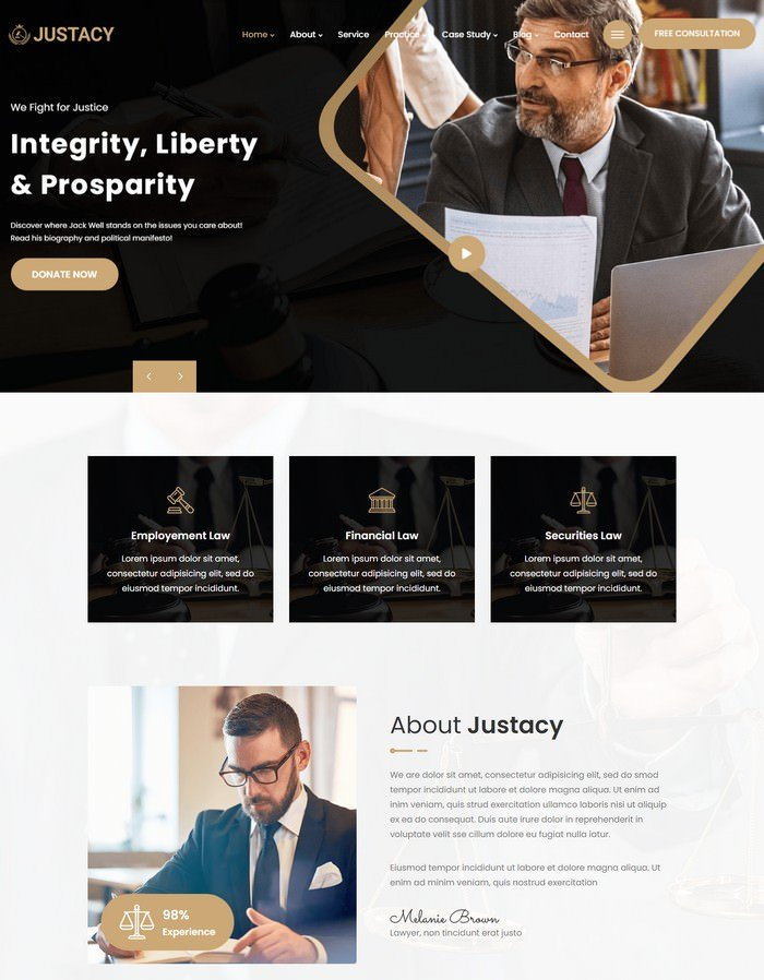 Justacy - Law, Lawyer and Attorney HTML Template