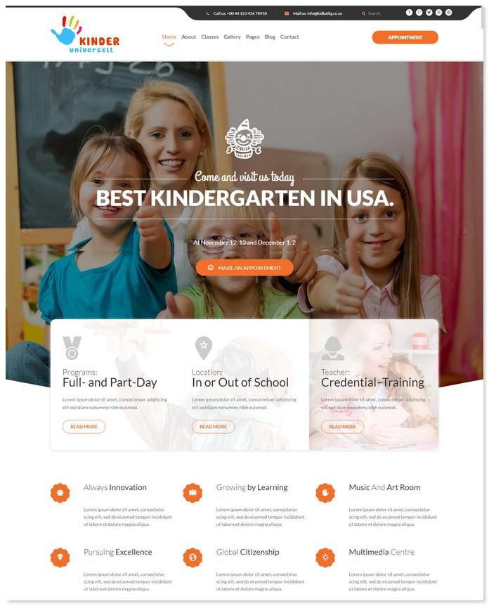20 best kindergarten website templates 2018 templatefor