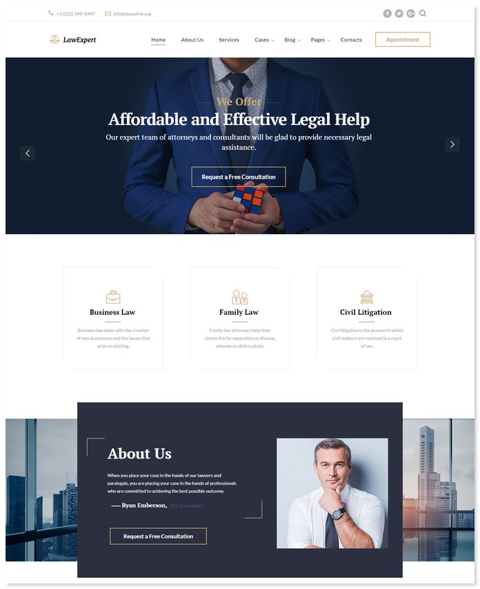 Law Expert - Law Firm Responsive Website Template