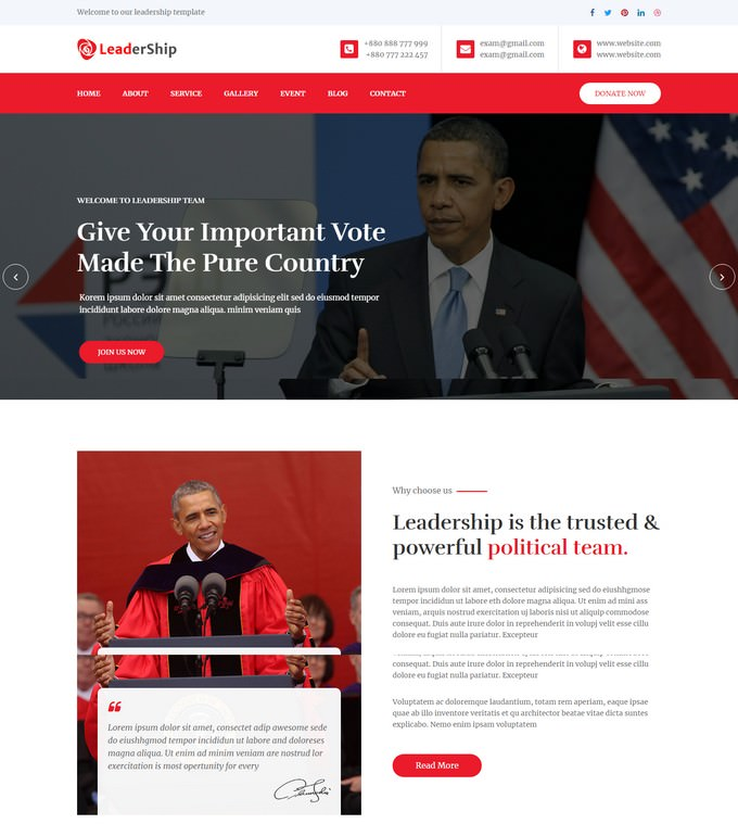 Leadership Political HTML5 Website Template