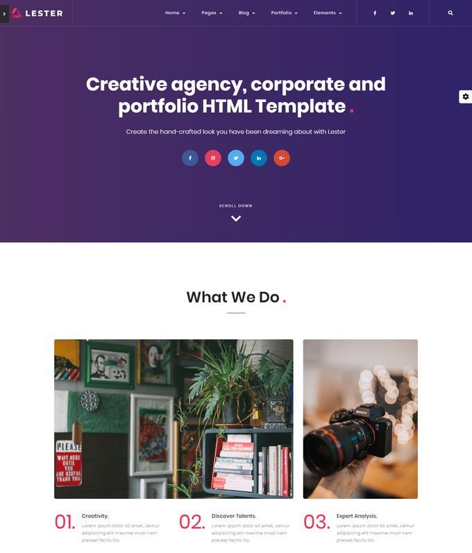 Lester - Creative HTML5 Portfolio Template