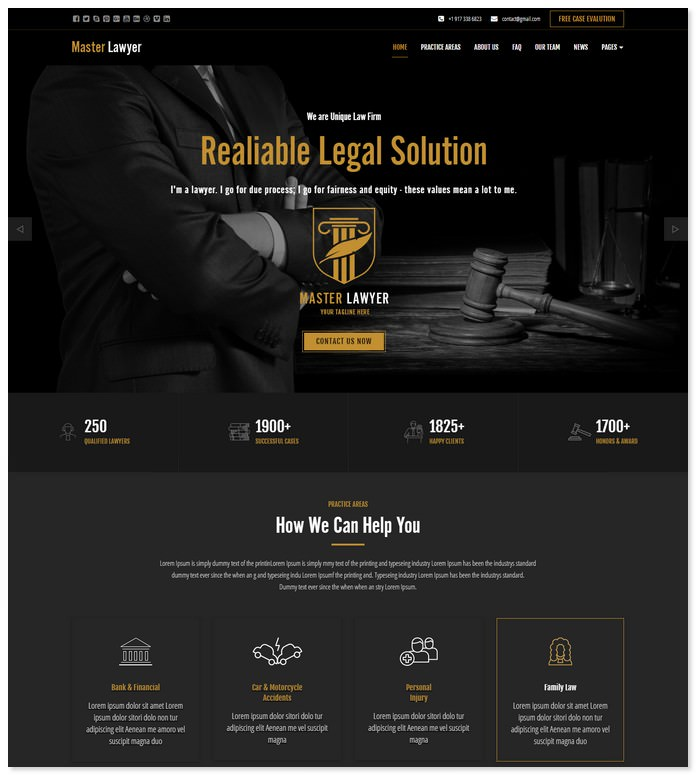 Master Lawyer HTML Bootstrap Template