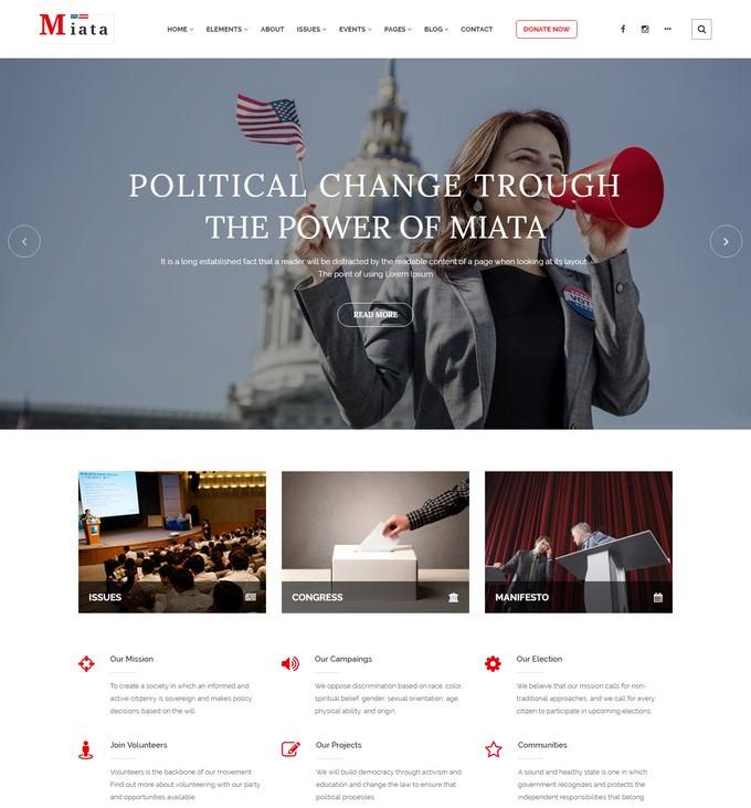 Miata - Political HTML5 Template