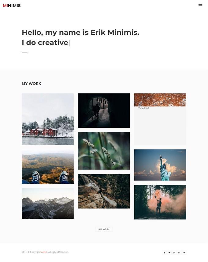 Minimus - HTML5 Bootstrap Personal Portfolio Template Free