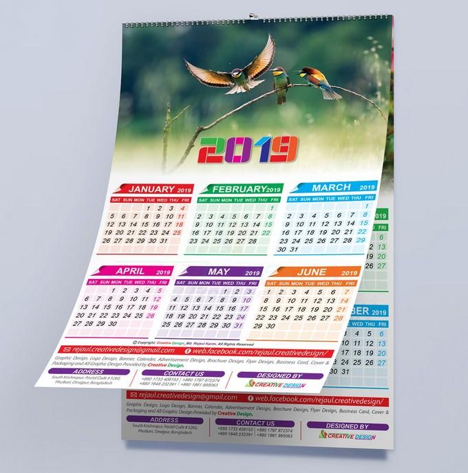 New Year 2019 Calendar Mockup