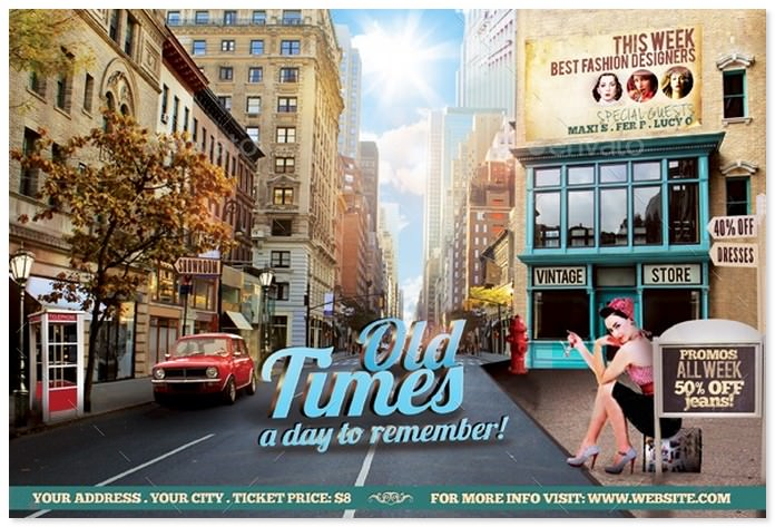 Old Times Film Flyer Template
