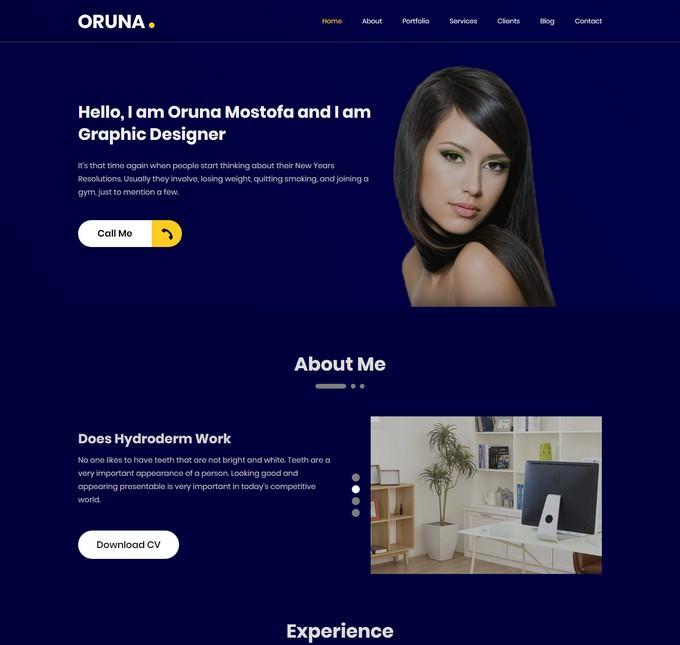 Oruna -Onepage Portfolio HTML5 Template